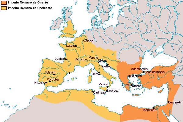 Impero Romano Oriente, Occidente. elantiguomundo.com
